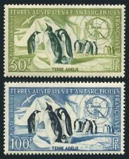 FSAT C1-C2,lightly hinged.Michel 8-9. Emperor Penguins,Map.1956