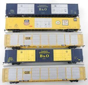 (5) HO Scale CSX Baltimore & Ohio UNION PACIFIC 89' Auto Carrier BOX CARS ~T104F