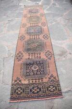 Oushak Vintage Runner Rug, Handmade Turkish Vintage Oushak Runner Rug, 2'9x11'10