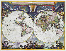 2 Reproduktion Antik Alt Farbe Farbe Blaeu & Goos Dekorativ Welt Karten Neu