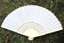 New au Summer Plain White Wooden Hand Folding Fan Bridal Birthday Shower Decors