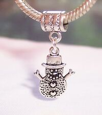 Christmas Snowman Winter Snow Dangle Bead fits Silver European Charm Bracelets