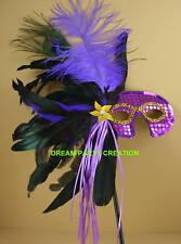 PURPLE Mardi Gras MASQUERADE Feather Stick MASK Party Decor