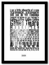 Queen - Bohemian Rhapsody 2 - song lyric poster typography art print - 4 sizes