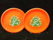 2 Red Christmas Dishes W. Germany  Salad, Dessert Plates 7 5/8 in. Exc.