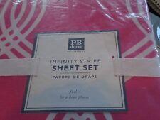 Pottery Barn Teen Infinity stripe sheet set pink magenta full  New