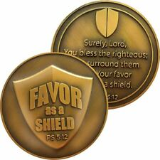 Blessings Antique Gold Plated Challenge Coin, The Lord's Favor As a Shield