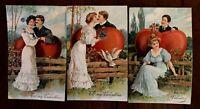 Set of 3 Valentines ~Romance~ Men & Woman Big Hearts~ PFB Postcards Lot-g364