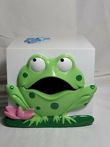 Blue Green 3D Frog Floral Tissue Box Cover Holder