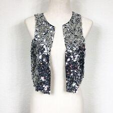 Maxazria Collection BCBG Sparkle Sequin Silver Glitter Silk Vest Women's XS
