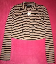 ☆Poetry Clothing Jacket Striped Womens-Small Black/Taupe Sailor Military Grunge☆