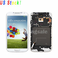 White For Samsung Galaxy S4 I9500 LCD Touch Screen Digitizer Assembly +Frame USA