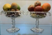 Antique Italian marble painted fruit in a antique glass compote PAIR