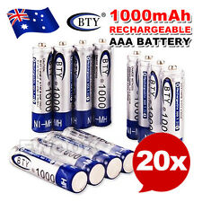 20X BTY AAA Rechargeable Battery Recharge Batteries 1.2V 1000mAh Ni-MH OZ