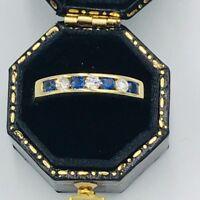 18ct Gold Diamond and Sapphire Eternity Ring Sz O #354