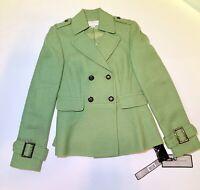 NWT Tahari Arthur S Levine Womans Coat Sz 0 Petite MSRP $320 Wool Blend Peacoat