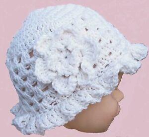 HAND CROCHETED BABY GIRLS WHITE SUN HAT shower gift 100% cotton flower brimmed