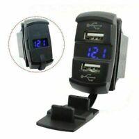 Auto Boot Dual USB Ladegerät Schalttafel Schalter Steckdose Voltmeter Blau LED