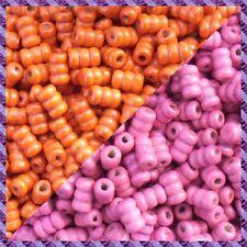 100 Perles Legno Tubo 2 coloris Arancione / Fucsia