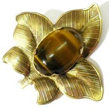 broche bijou vintage feuille couleur or cabochon oeil de tigre griffé * 4882