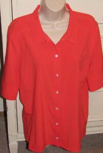 NIKE Golf Women's Large 12/14 Dri Fit Pumpkin Orange Button Up Stretch Blouse
