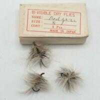 Vintage Badgers Fly Fishing Bi-Visible Dry Flies Lot Hand Tied made in Japan