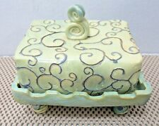 Hand Made Studio Pottery Whimsical Footed Butter or Cheese Dish With Lid Signed
