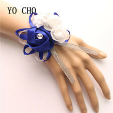 Royal Blue Wrist Corsage Bracelet Bridesmaid Sisters Hand Flowers Wedding Party