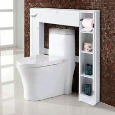 5Wooden Over The Toilet Storage Cabinet Drop Door Spacesaver Bathroom White
