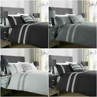 Black White Grey Glitz Duvet Cover Bedding Set Single Double King Size SuperKing