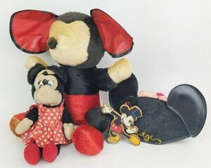 Antique Genie Toys Mickey Mouse w/Minnie Stuffed Plush Disneyland Hat Lot Rare