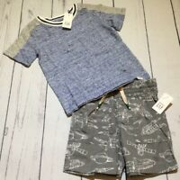 Baby Gap Boys 12-18 Months Outfit. Blue / Gray Shirt & Spaceship Shorts. Nwt