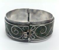 "Vintage Sterling Silver Bracelet 925 7"" Hinged Bangle Mexico Green Stone ERA 69g"