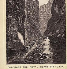 Colorado Royal Gorge D.&R.G.R 1890's Railroad Train photo-style Dr Hartman Card