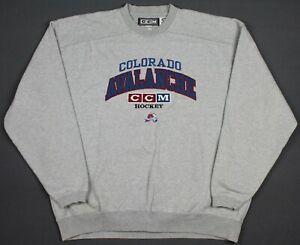 Colorado Avalanche Vintage 90's CCM NHL Embroidered Crewneck Sweatshirt 2XL