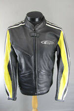 CORNER CLASSIC BLACK, YELLOW & WHITE LEATHER BIKER JACKET WITH CE ARMOUR 40 INCH