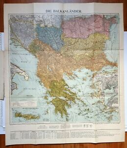 c1910 MAP THE BALKANS INSETS CONSTANTINOPLE ISTANBUL GALLIPOLI & CRETE FLEMMING