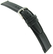 19mm Hadley Roma Black Genuine Oil-Tan Leather Padded Mens Watch Band 881 Reg