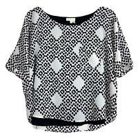 Anthropologie Meadow Rue Womens Zane Top Short Sleeve Geometric Lined Blouse M