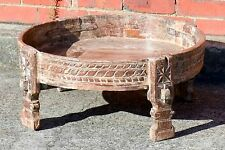 Whitewashed Timber Carved Chakki Stool Boho Indian Antique Coffee Table