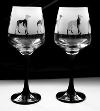 Greyhound gift Wine Glasses black stem Boxed