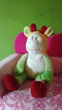 Giraffe rattle white green stripes plush baby cream yellow red wishpets lovey