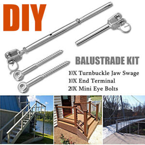 10Set Stainless Steel Wire Rope  Balustrade Jaw/Swage Fork Turnbuckle Tools