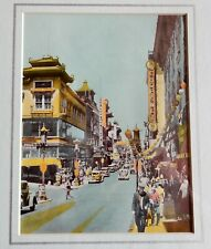 China Town Lithograph - 1940S San Francisco Picture Matted 11X14