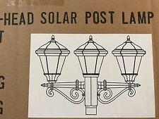 NEW 3-Head White Solar Post Lamp Head