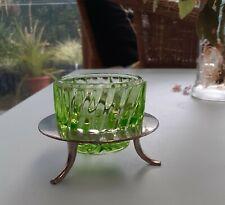 ANTIQUE BROCKWITZ*URANIUM GLASS*OPEN SALT CONTAINER WITH STAND*GERMANY-