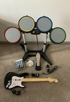 Xbox 360 Rock Band Bundle With Drums, Pedal, Fender Guitar, Microphone & 2 Games