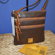 Dooney & Bourke Triple Zip Calf Leather Crossody NWT Brown