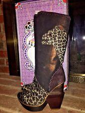IRREGULAR CHOICE LEOPARD COUGAR TALL Cowboy Wedges High Heels Sexy BOOTS Sz 7.5
