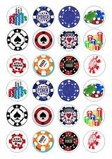 24 POKER CHIP CHIPS CUPCAKE TOPPER WAFER RICE EDIBLE FAIRY CAKE BUN TOPPERS